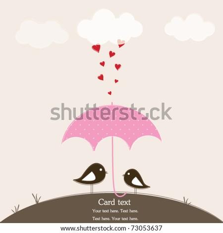 Birds under umbrella, romantic card