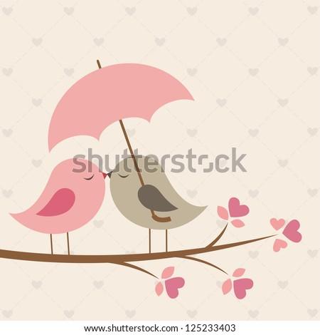 birds under umbrella romantic