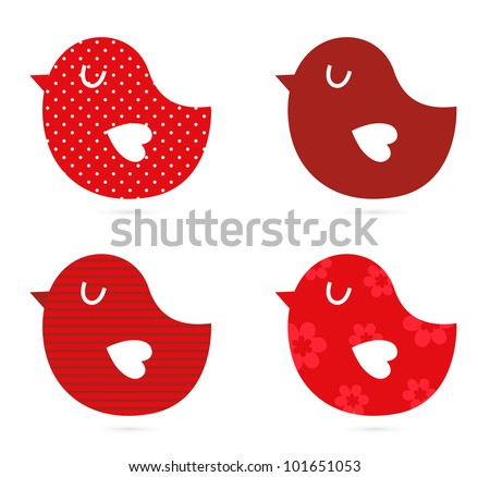 Birds vector set isolated on white ( red ) - stock vector