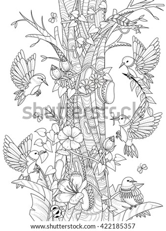 birds with floral elements
