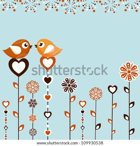 Birds with flowers on a blue background