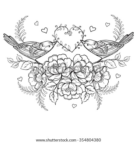 birds with heart and roses for