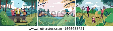 Birdwatching in nature, people outdoor hobby, ornithology bird observation, vector illustration. People watching birds in nature, outdoor activity for friends and family. Recreation leisure hiking Stock photo ©