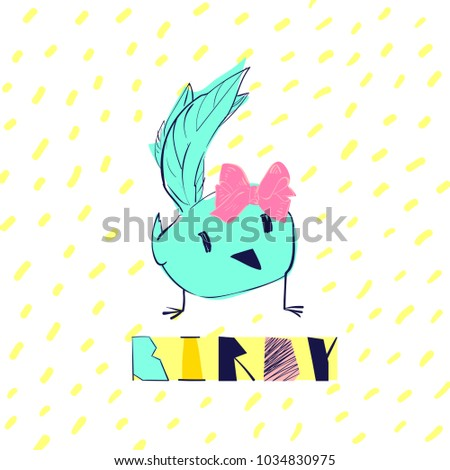 Birdy. Funny character bird. Vector cartoon illustration print concept. T-shirt, cards graphics design #1034830975
