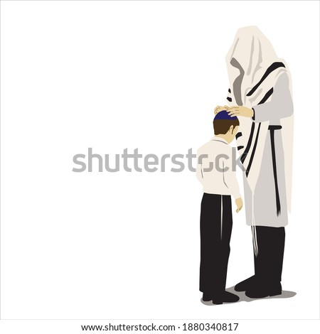 birkas habanim - An Orthodox religious Jewish father covered with a tallit greets his son. He places his hands on the head of his kippah -covered son. Dressed in a white robe. vector Stock fotó ©
