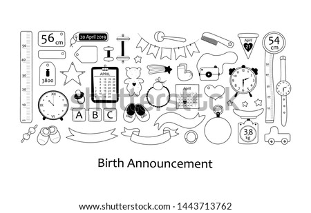 Birth announcement. Vector set with hand drawn elements.