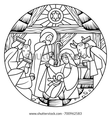 Birth of Jesus Christ scene in circle shape. Linear drawing for coloring. Vector illustration