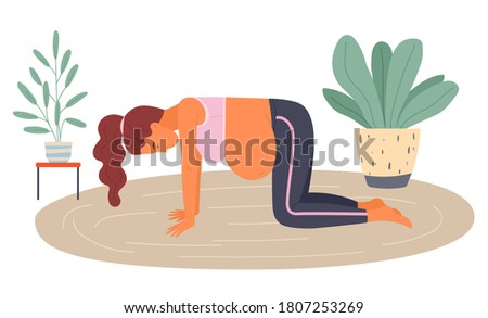 Birth position for painless childbirth labor, pregnant woman standing at knees on floor during painful birth pains, female with belly, comfortable posture for birthing, supported exercise, gymnastics