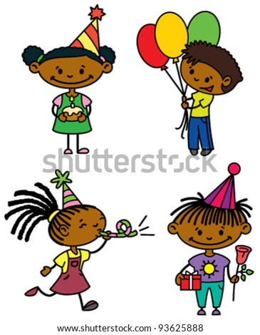 Birthday afroamerican children set (color version)