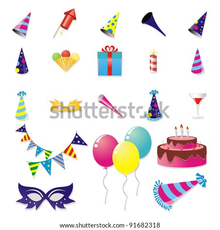 Birthday And New Year Party Stuff Icon Set Stock Vector 91682318