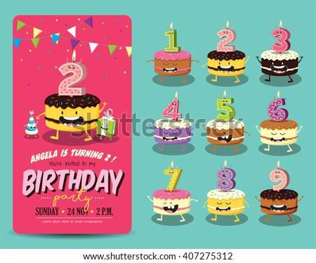Birthday party invitation vector download free vector art stock birthday anniversary numbers candle with funny character birthday party invitation card template stopboris Gallery