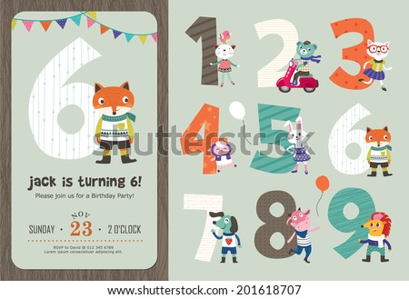 Birthday card design download free vector art stock graphics birthday anniversary numbers with cute animals birthday party invitation card template stopboris Choice Image