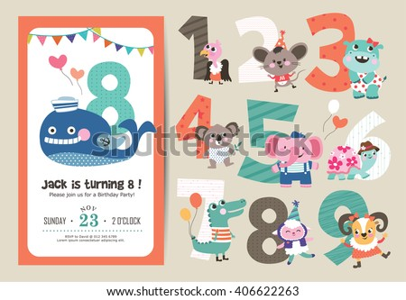 Vector cute bear birthday cards download free vector art stock birthday anniversary numbers with cute animals birthday party invitation card template stopboris Image collections