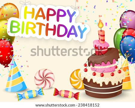 Birthday background with birthday cake and colorful balloon