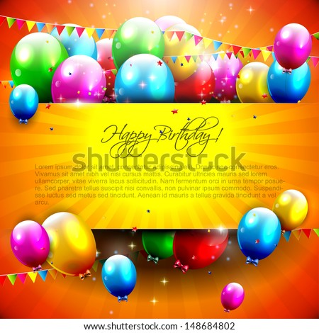 Birthday background with colorful balloons and copyspace
