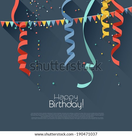 Birthday background with colorful confetti modern flat style