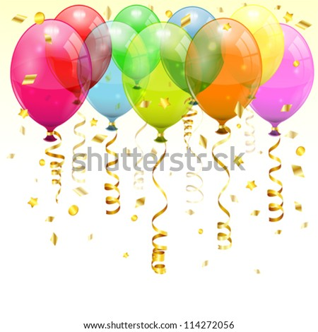 Birthday Background with 3D Transparent Birthday Balloons and Streamer, easy change color, vector