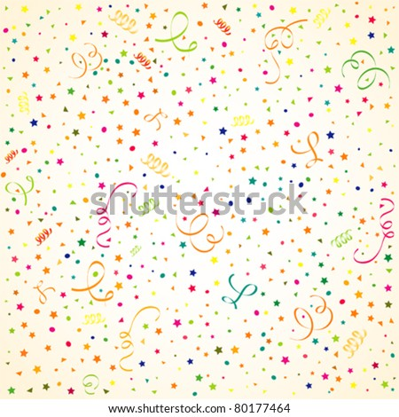 Birthday background with streamer and confetti, element for design, vector illustration