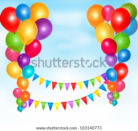 Birthday balloons frame composition with space for your text. Vector illustration.