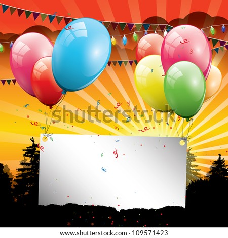 Birthday balloons with sunset and place for your text