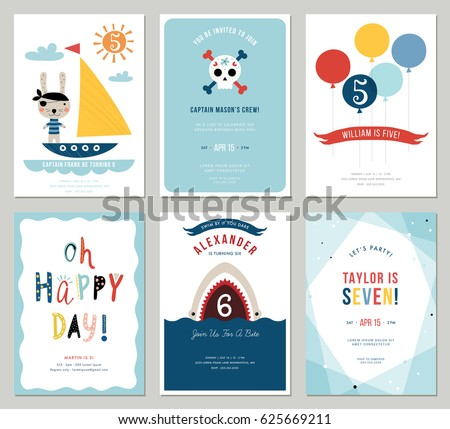Birthday party invitation vector download free vector art stock birthday boy invitation cards set colorful balloons cute rabbit pirate cartoon shark and stopboris
