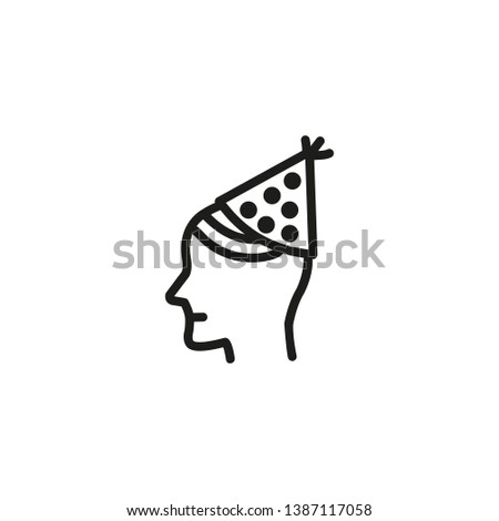 Birthday boy line icon. Person in festive cone hat. Birthday party concept. Vector illustration can be used for topics like celebration, surprise, holiday, party