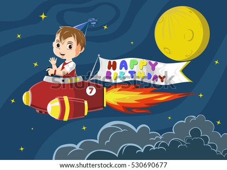 Birthday boy riding a rocket with happy birthday banner