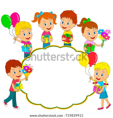 Birthdayboys And Girls Stand With Giftsballoons And Flowers And
