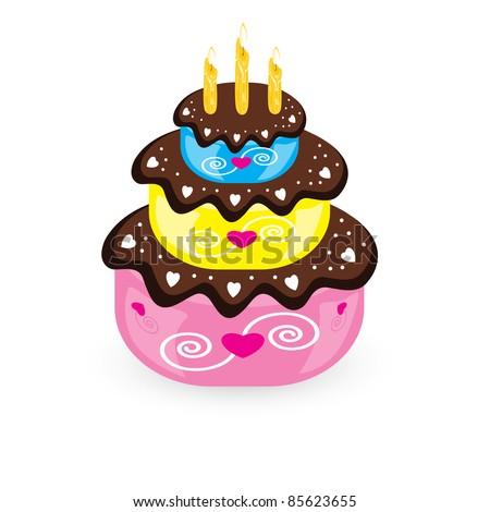 Birthday cake and candle. Illustration on white background