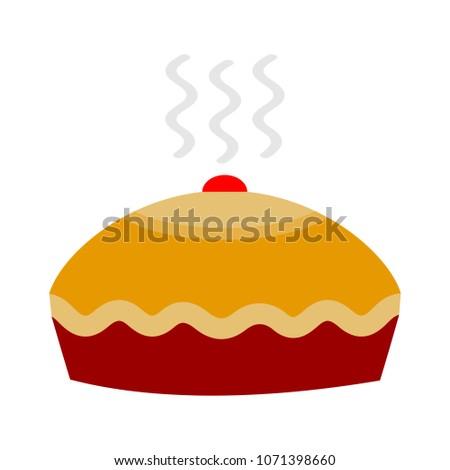 birthday cake, birthday dessert - vector bakery symbol, sweet pie illustration