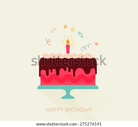 Birthday cake flat icon with long shadow - Happy Birthday