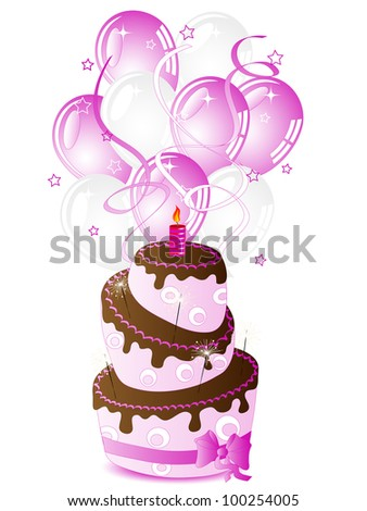 Birthday cake for her and party balloons