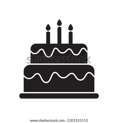 birthday cake icon in trendy flat design