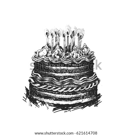 Birthday Cake Icon Vector Illustration Happy For Celebration With Candles