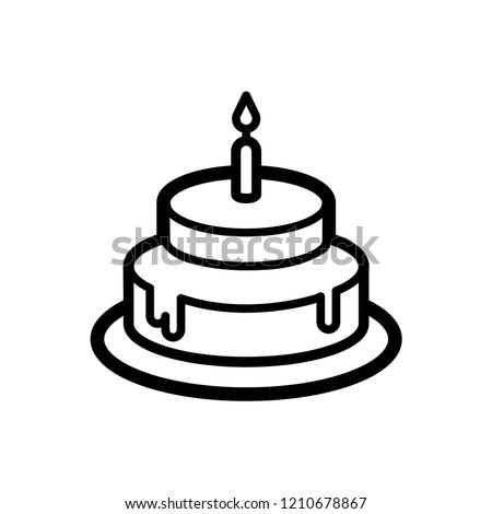 Birthday Cake Icon Vector on Line Art Style & White Background. EPS 10.