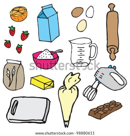 Birthday cake ingredients illustration vector