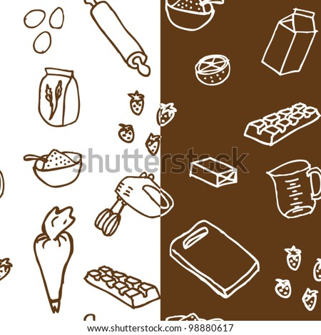 Birthday cake ingredients seamless pattern - stock vector