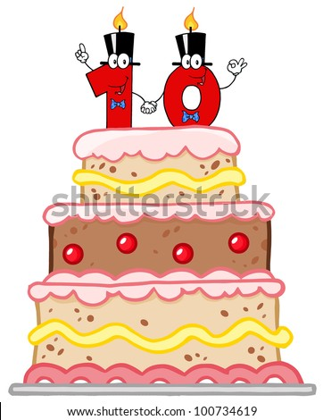 Birthday Cake Or Wedding Cake With Number Ten Candles