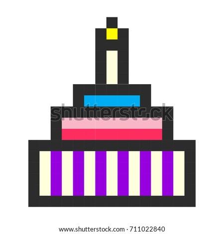 Birthday cake pixel art cartoon retro game style