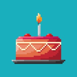 Birthday cake, Pixel concept icon