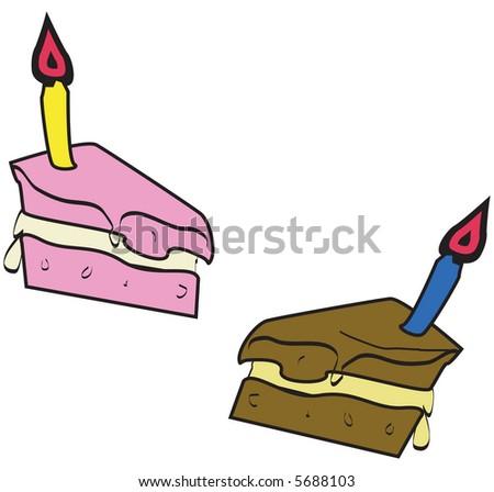 Birthday Cake Slices Stock Vector Illustration 5688103 : Shutterstock