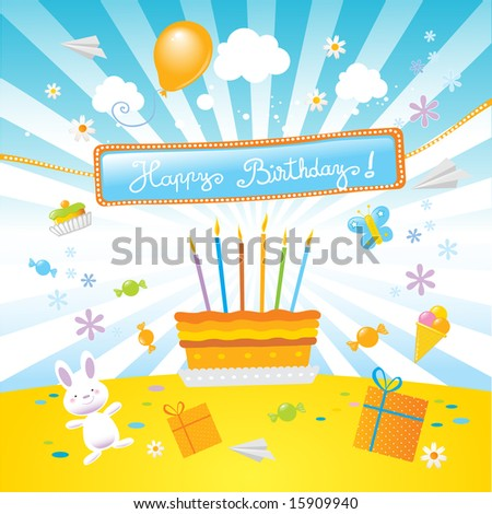 "stock vector : birthday cake , surprise party and a nice ""happy birthday!"""