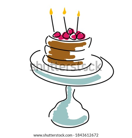 Birthday cake three candles red fruit stand blue vector Foto stock ©