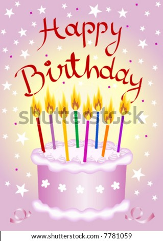 Birthday cake - Vector file - Text on 7 languages in separate layers: English, German, French, Italian, Spanish, Portuguese, and Dutch. - stock vector