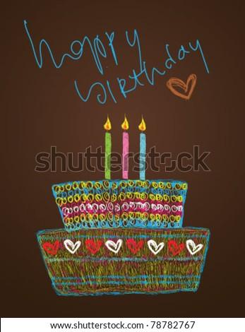 Birthday cake - vector illustration, happy birthday card