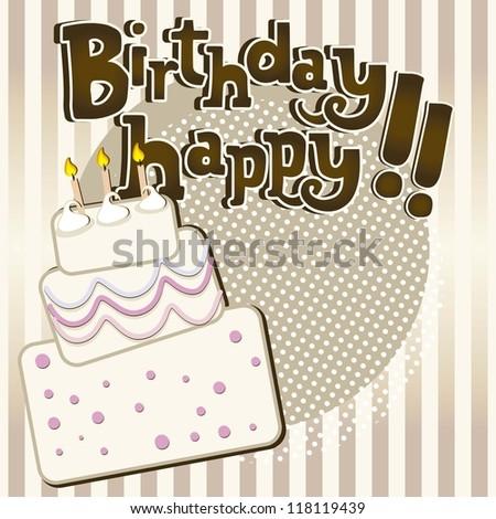 birthday cake vintage with stripes