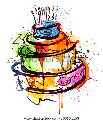 Birthday Cake Water Color