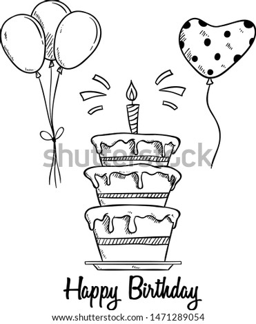 Birthday Cake With Balloon and Candle by Using Sketchy Style