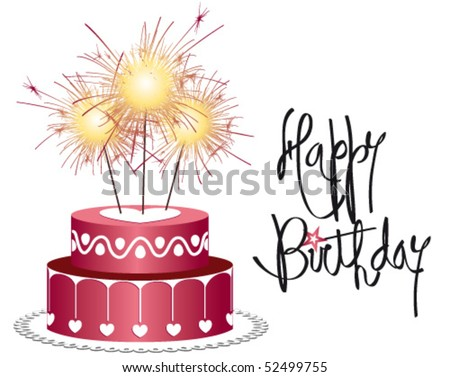Birthday cake with candle lit firework