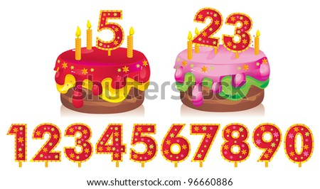 birthday cake with candles and a set of numbers for your dates